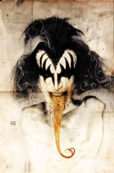 I LOVE Gene Simmons! ♡ Does anyone know who made this? I want it blown out and framed. I want this in my living room!