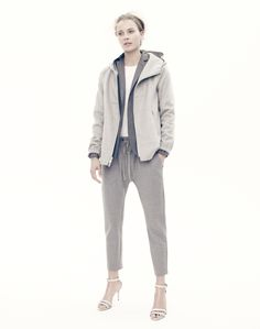 J.Crew Collection cashmere hoodie, Collection slouchy wool pant, women's Ludlow blazer, tissue tee, and crackle leather ankle-strap high-heel sandals.
