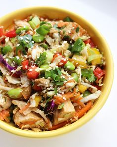 Colorful, crispy, and packed with nutrition, this Asian chicken salad will satisfy your cravings for the fried restaurant alternatives. With nearly 20 grams of protein and clocking in at just over 230 calories per filling portion, it's a much healthier alternative you'll enjoy just as much.
