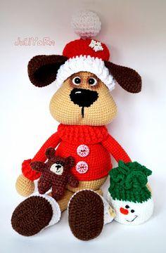 Волшебный мир вязаных игрушек от JuliYarn: Символ 2018г. - песик Полкаша! Описание. Crochet Toys Patterns, Amigurumi Patterns, Stuffed Toys Patterns, Knitting Patterns, Knitting Toys, Yarn Projects, Crochet Animals, Softies, Handmade Toys