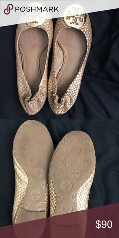 Tory Burch Gold snakeskin Flats Excellent condition Gold TB snake skin Flats. Tory Burch Shoes Flats & Loafers