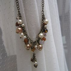 Beaded necklace - amber and cream Victoriana.  By: Arabella's Attic