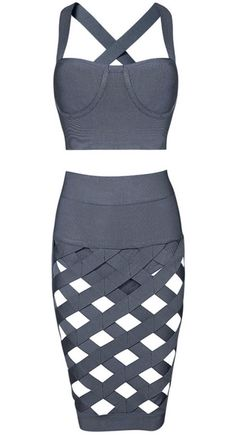 Kimmy Gray Two-Piece Bandage Dress