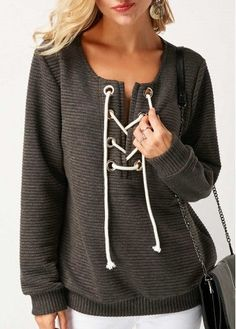 Long Sleeve Grey Lace Up Sweatshirt on sale only US$32.75 now, buy cheap Long Sleeve Grey Lace Up Sweatshirt at liligal.com