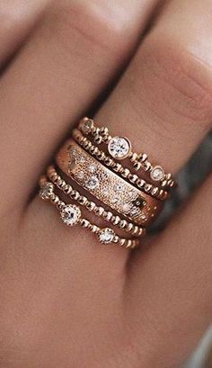Rose gold ring stack - Tap the LINK now to see all our amazing accessories, that we have found for a fraction of the price Cute Jewelry, Jewelry Box, Jewelry Rings, Jewelry Accessories, Fashion Accessories, Fashion Jewelry, Jewlery, Jewelry Stores, Pandora Jewelry
