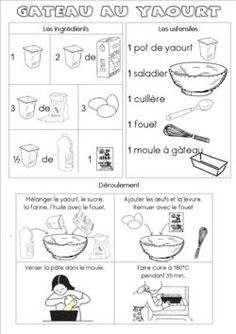 Yogurt cake recipe sheet (kindergarten) - Yogurt cake recipe sheet (maternal) – In my little trailer … - Sweet Recipes, Cake Recipes, Dessert Recipes, Desserts, Food In French, French Stuff, Healthy Toddler Breakfast, Recipe Sheets, Core French