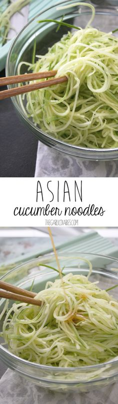 Asian Cucumber Noodles -- hothouse cucumbers are English cucumbers