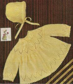 Baby Knitting Pattern Matinee Coat and Bonnet pdf