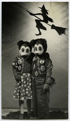 Vintage Halloween Portrait - Mickey and Minnie From a collection of Halloween portraits found in Ohio. All appear to have been taken by a professional photographer working in the Southern Ohio area around the 1940s. #brooms