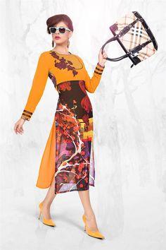 Orange-Brown Party Wear Georgette Designer Ladies Kurti