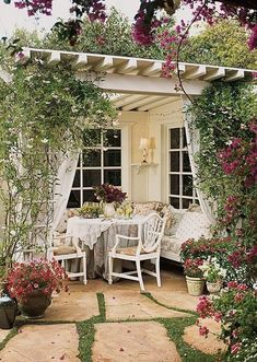 cozy and comfy outdoor dining area with pergola - bhg Outdoor Rooms, Outdoor Dining, Outdoor Gardens, Outdoor Decor, Outdoor Fabric, Outdoor Seating, Patio Dining, Outdoor Ideas, Indoor Garden