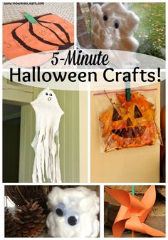Quick and easy last minute Halloween crafts for kids! Amazing crafts for kids of all ages - toddlers preschoolers and school age big kids too! 5 minutes to make! Preschool Arts And Crafts, Creative Activities For Kids, Easy Arts And Crafts, Crafts For Kids To Make, Arts And Crafts Projects, Kids Crafts, Preschool Prep, Daycare Crafts, Daycare Ideas
