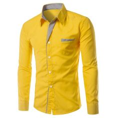 15.58$  Buy here - http://di2zp.justgood.pw/go.php?t=189213407 - Stylish Turn-Down Collar Stripe Spliced Long Sleeve Shirt For Men