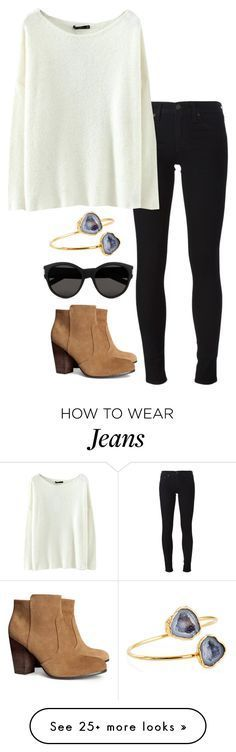 """black jeans"" by helenhudson1 on Polyvore featuring H&M, Janna Conner, Yves Saint Laurent and rag & bone/JEAN"