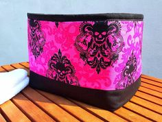 GOTHIC SKULLS BASKET Extra Large Black Hot Pink Damask Quality Cotton Fabric Bag Storage Organizer Padded Box Handmade Birthday Gift