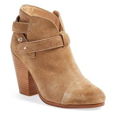 """rag & bone 'Harrow' Leather Boot, 3 1/2"""" heel ($495) ❤ liked on Polyvore featuring shoes, boots, ankle booties, ankle boots, camel suede, cap toe boots, camel ankle boots, rag bone booties and high heel boots"""