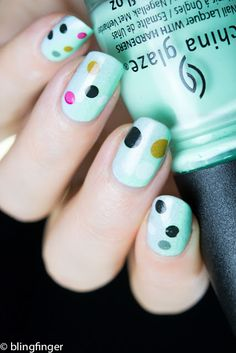 Water Decal Dots - Lady Queen Review  http://www.ladyqueen.com/1-sheet-pink-black-points-print-nail-art-decals-water-transfer-nail-stickers-decoration-na0751.html