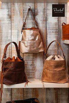 Metallic bucket bag metallic leather bags large bucket by Percibal