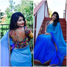 Beautiful Shaded blue chiffon Saree paired with heavy Mirror work Blouse Blouse Models, Saree Models, Pattu Saree Blouse Designs, Sari Blouse, Floral Print Sarees, Mirror Work Blouse, Best Blouse Designs, Stylish Blouse Design, Saree Trends