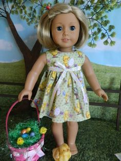 """18 inch doll clothes, American Girl doll clothes Easter Dress for 18"""" American Girl doll outfit"""