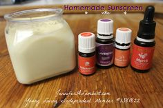 Homemade Sunscreen SPF 30 1/2 cup Olive Oil 1/4 cup Coconut Oil (natural SPF of 4) 1/4 cup Beeswax (try to get some locally for even more benefits!) 2 Tablespoons Zinc Oxide powder (natural SPF of 20+) 1 teaspoon Vitamin E oil (I love the scent of this stuff!) 2 Tablespoons Shea Butter (natural SPF of 4-5) 40-50 drops of Essential Oils (any combination of Lavender, Helichrysum, Myrrh, Roman Chamomile, Carrot Seed)