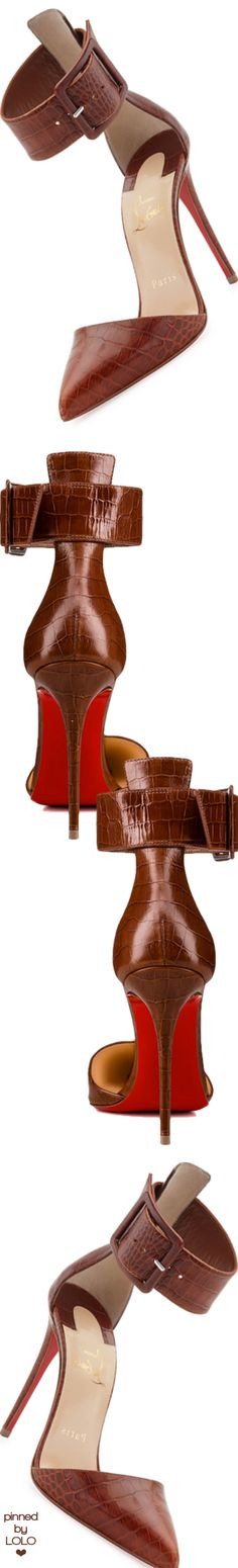 Christian Louboutin Harler Snake-Embossed Leather Red Sole Pump, Brown