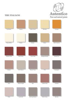 The Italians Colour Chart by Autentico chalk paint. See our website for details and workshops :)