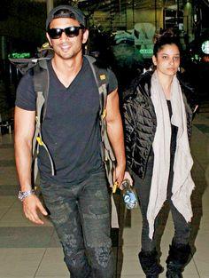 Sushant Singh Rajput and Ankita Lokhande at Mumbai airport. Bollywood Actors, Bollywood Celebrities, Bollywood Fashion, Ankita Lokhande, Mumbai Airport, My Superman, Casual Outfits, Men Casual, Sushant Singh