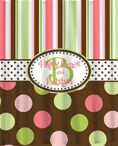 Items similar to Brown Multi Stripes and Dots Shower Curtain -Standard style stripes and dots in brown, lime, lt green, lt pink and coral on Etsy Girl Room, Baby Room, Girl Bathrooms, Sweet Home, Dots, Stripes, Holiday Decor, Brown, Unique Jewelry