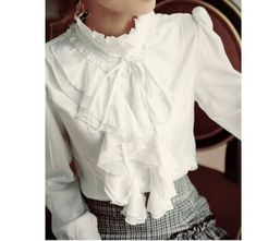 880a1553d564 Details about VTG BIB White Victorian High Collar Ruffle Frill long sleeve  blouse top S