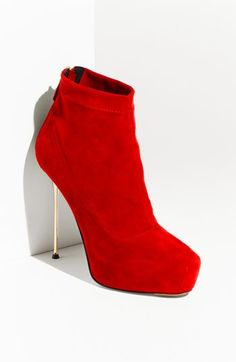 Brian Atwood Gold Heel red bootie