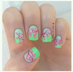 Japanese cherry blossom nail art