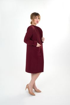 Dark red linen coat with side pockets. Fall Winter 2015, Dark Red, Attitude, Women Wear, High Neck Dress, Pockets, Coat, How To Wear, Collection