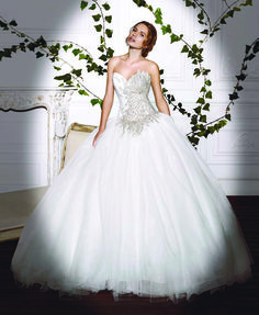 Demetrios Platinum Collection Style DP 320      Tulle ball gown,  dropped waist and corset back. Front corsage has amazing beadings until waist.