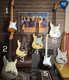 These fender telecaster guitar are stunning. Stratocaster Guitar, Fender Guitars, Guitar Rack, Bass Amps, Guitar Collection, Music Guitar, Eric Clapton, Vintage Guitars, Acoustic