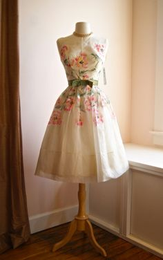 1950s Hand Painted Floral Organza Party Dress by by xtabayvintage, $398.00