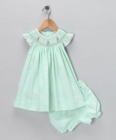 Mint Gingham Bunny Bishop Dress - Infant & Toddler