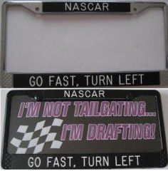 """NASCAR - Go Fast, Turn Left"" Custom Frame Kyle Bush, Kurt Busch, Nascar Diecast, Nascar Sprint Cup, Toddler Rooms, License Plates, Family Quotes, Custom Framing, Jr"
