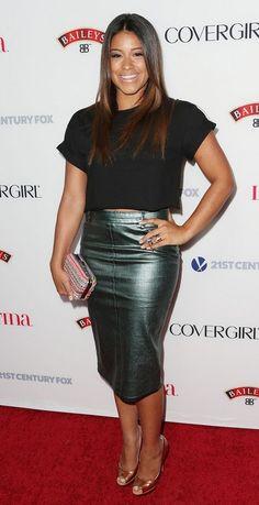 @roressclothes clothing ideas #women fashion Gina Rodriguez's Peep Toe Pumps