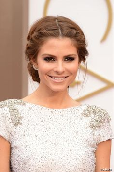 Front view of Maria Menounos braided updo