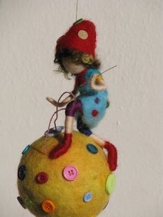 Waldorf inspired Needle felted nursery mobile Hme by Made4uByMagic