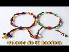 COMO HACER DECENARIO DE HILO CON COLORES DE TU BANDERA / TUTTORIAL / DIY - YouTube Macrame Art, Macrame Knots, Macrame Bracelets, Macrame Patterns, Jewelry Patterns, Bracelet Patterns, Bracelet Crafts, Jewelry Crafts, Bracelet Making
