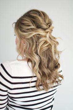 Twisted half up tutorial wedding hairstyles for medium hair, wedding hair down, half up Homecoming Hairstyles, Formal Hairstyles, Different Hairstyles, Down Hairstyles, Pretty Hairstyles, Wedding Hairstyles, Hairstyle Ideas, Simple Curled Hairstyles, Twisted Hairstyles