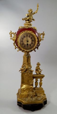 A large Continental gilt metal mantle clock, late 19th century