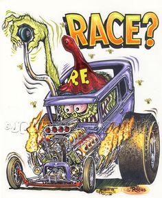 Johnny Ace Original Art Rat FINK Wild Child ED Big Daddy ROTH RACE FORD HEMI!! #JohnnyAceStudiosEdRothInc