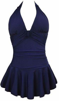 Newest Sexy Stripe Padded Halter Skirt Swimwear Women One Piece Swimsuit Beachwear Bathing Suit Swimwear Dress Plus Size M-4XL