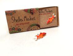 Gold fish stud earrings, animal jewellery, silver plated stud earrings by ShellaMakes on Etsy