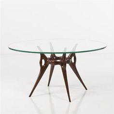 Italian polished walnut and glass table, 1950 - by Piasa #midcenturymodern