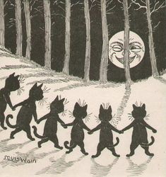 Louis Wain, Black Cat Moon, c1916 - via vintage cat faces