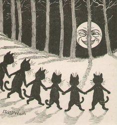 louis wain louis wain cat winking moon black cats lucky black cats ...